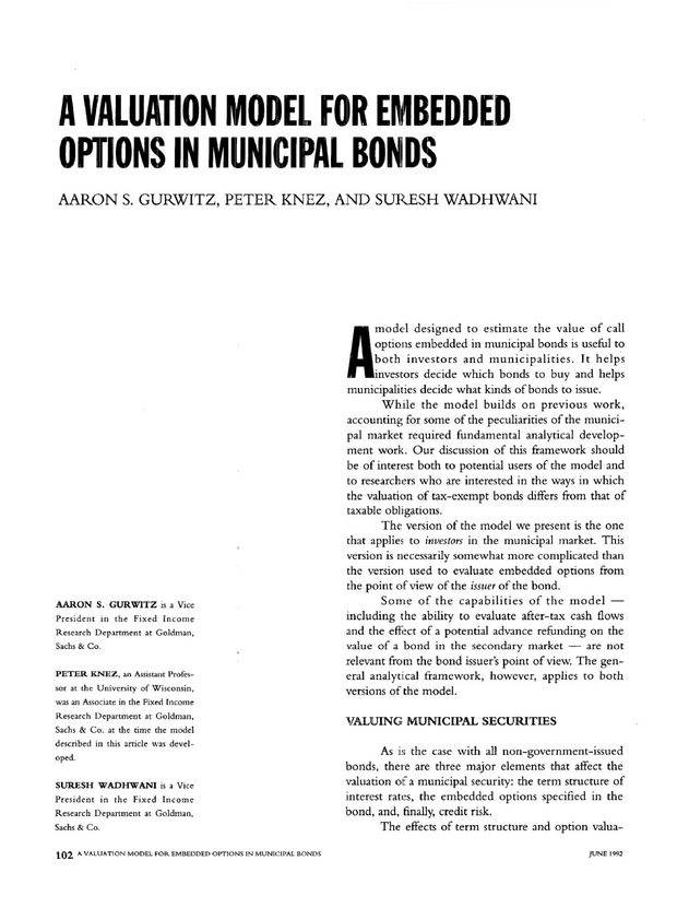 A Valuation Model For Embedded Options In Municipal Bonds